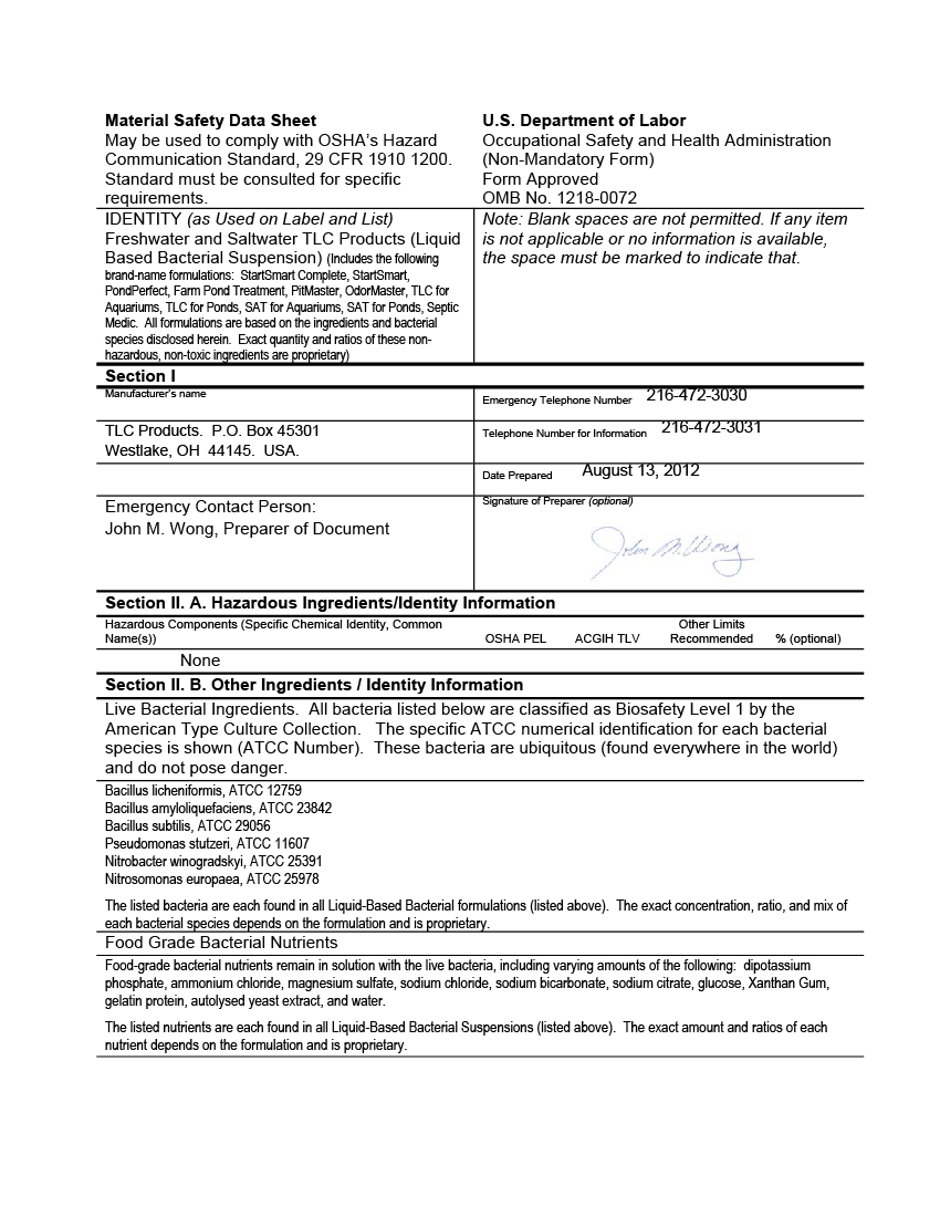 MSDS Sheet – Freshwater and Saltwater Liquid Bacterial Products