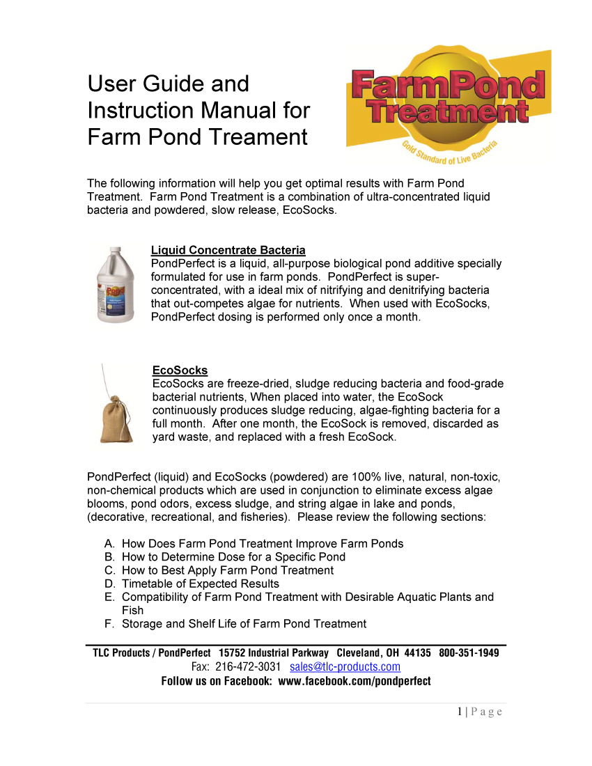 User Guide Large Pond Treatment